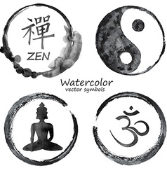 Watercolor set yoga and buddhism icons vector