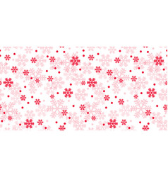 white and red christmas snowflakes repeat pattern vector image