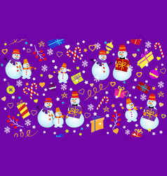 winter pattern with snowmen snowflakes and gifts vector image