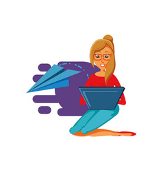 Woman sitting with laptop computer and airplane vector