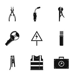 workman icons set simple style vector image