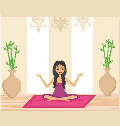 young woman practicing yoga indoors vector image