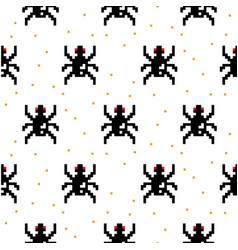 black spider cartoon pixel art seamless pattern vector image vector image