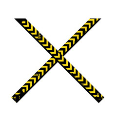 Color silhouette with police line tape crossed vector