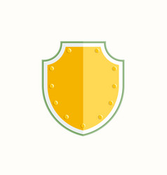 gold shield icon on white background vector image