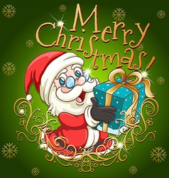 Merry Christmas poster with Santa and gift vector image vector image