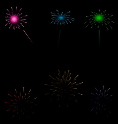 Set colorful fireworks on dark background vector image vector image