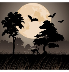 Big yellow moon and silhouettes of trees vector