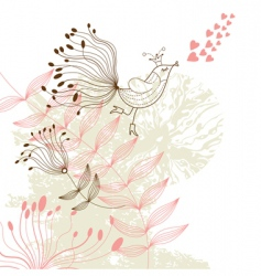 bird on floral background vector image vector image