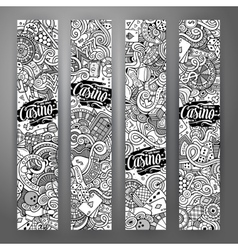 Cartoon line art doodles casino banners vector image vector image