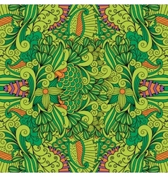 Green toned background with floral patterns vector image vector image
