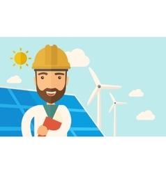 Man in solar panel and windmills vector image vector image