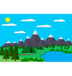 Mountains with forest and lake landscape flat for vector image