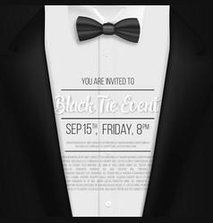 realistic black suit black tie event invitation vector image vector image