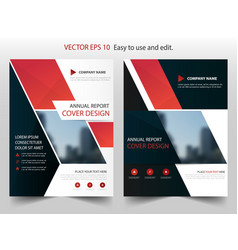 red black abstract annual report brochure vector image