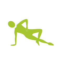 silhouette woman stretching with support in one vector image vector image