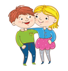 happy young girl and boy cartoon characters vector image vector image
