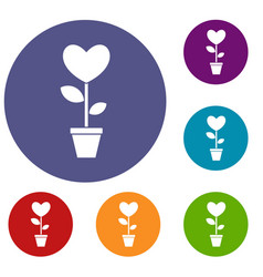 Heart flower in a pot icons set vector