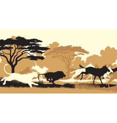 Lions hunting wildebeest vector image vector image