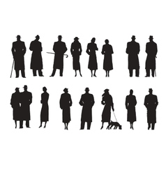 Set of silhouettes Characters Retro vector image