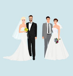 Beautiful elegant Wedding couples collection set vector image
