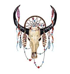 Bull skull feathers vector