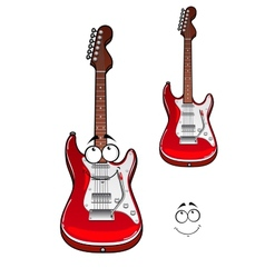 Cartoon smiling red electric guitar character vector image vector image