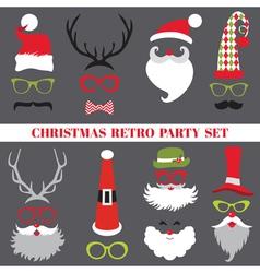 Christmas retro party set - glasses hats lips vector