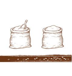 hand drawn sacks with flour vector image