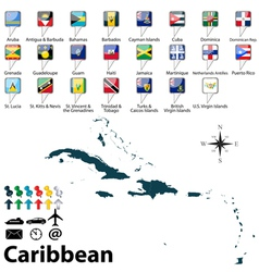 Political map of Caribbean vector image