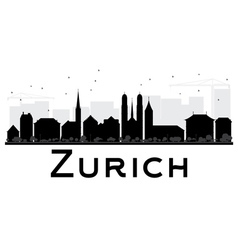 Zurich City skyline black and white silhouette vector image