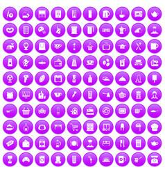 100 kitchen utensils icons set purple vector