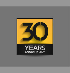 30 years anniversary in square yellow and black vector