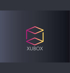 abstract box cube logo icon template blockchain vector image