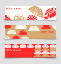 Asian style banner template with hand fans vector