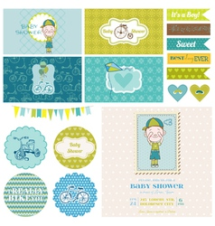 Baby Shower Bicycle Party Set vector