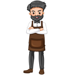 barber in brown apron vector image