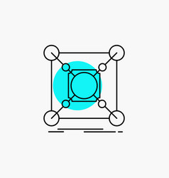 base center connection data hub line icon vector image