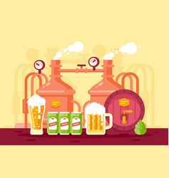 beer with foam and working brewery vector image
