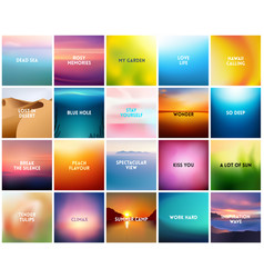 big set of 20 square blurred nature backgrounds vector image