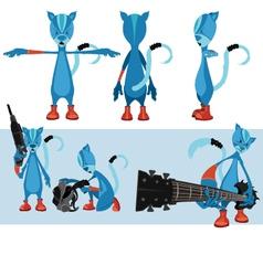 Blue cat character sheet vector image