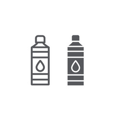 bottle line and glyph icon plastic and water vector image