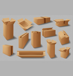 boxes cardboard cases realistic carton packages vector image