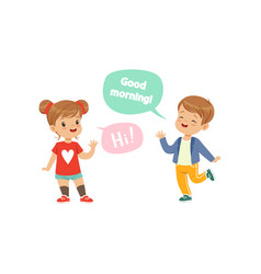 Boy and girl greeting each other kids good vector