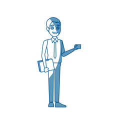 Business man standing holding papers office work vector