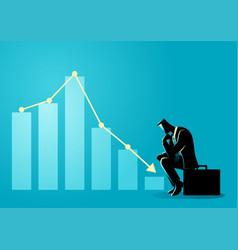 Businessman sitting listless due to decreasing vector