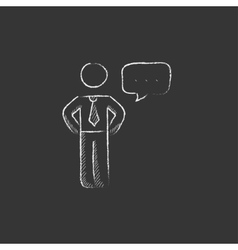 Businessman with a speech square Drawn in chalk vector