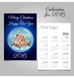 Calendar with toy house inside the ball vector