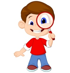 Cartoon a boy and a magnifier vector image