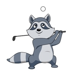 Cartoon funny little raccoon playing golf vector
